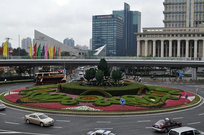 Круглый пешеходный мост, Шанхай, район Пудун, Китай