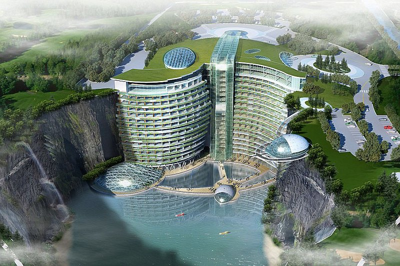 "Подземный отель ""Intercontinental Shimao Shanghai Wonderland"" в Шанхае, Китай"