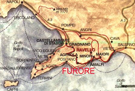 Фуроре, Италия, фьорд, Амальфитанское побережье, карта