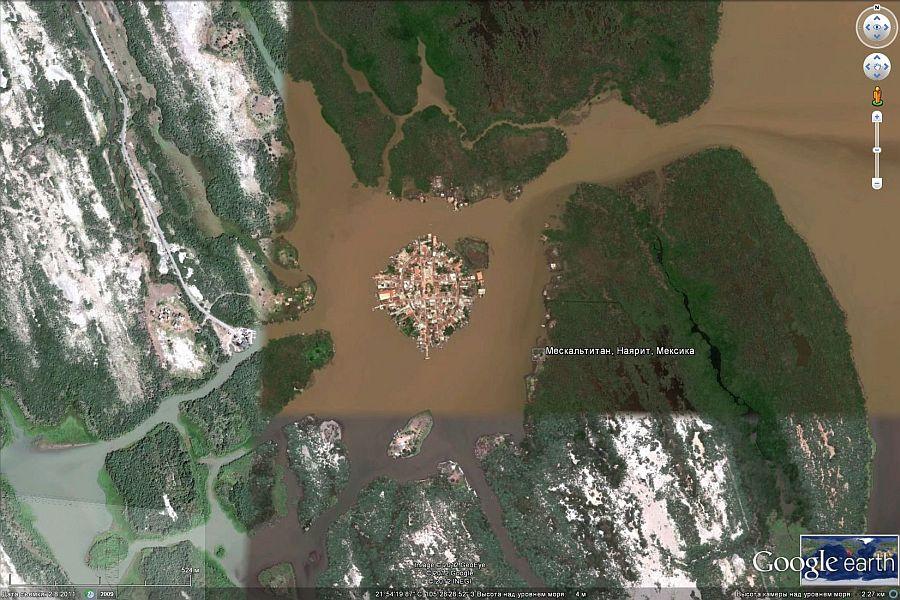 Мескальтитан (Mexcaltitan) - город среди воды, Мексика