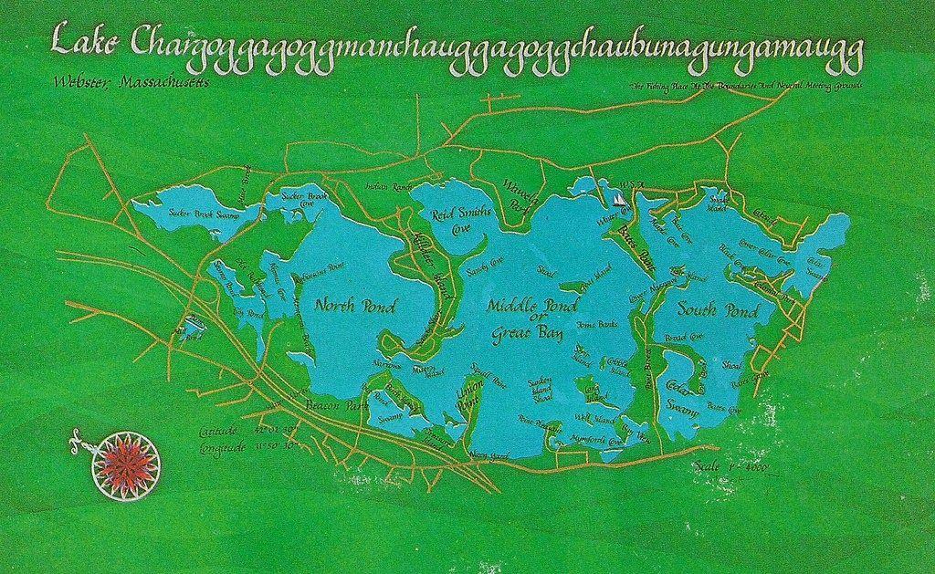 Озеро Чаргоггагоггманчауггагоггчаубунагунгамаугг (Lake Chargoggagoggmanchauggagoggchaubunagungamaugg), Вебстер, США